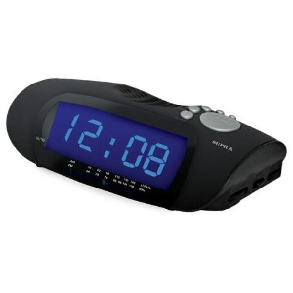 Часы с радиоприемником Supra SA-16FM black/blue