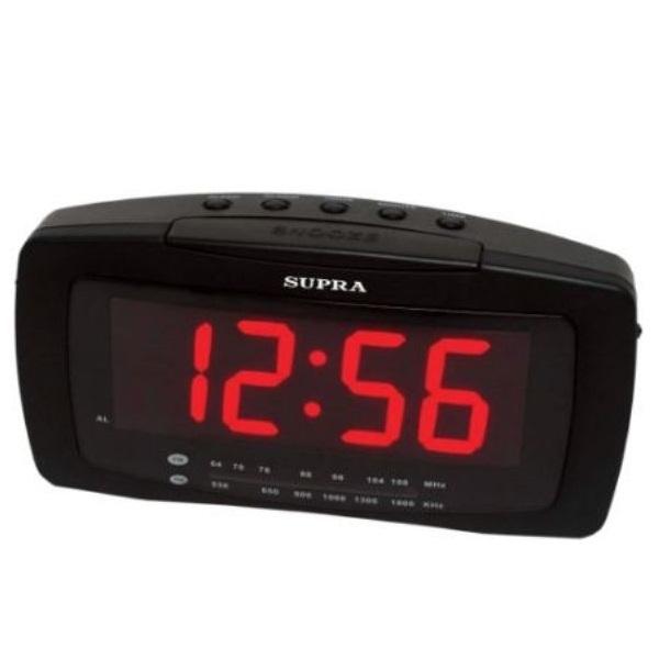 Часы с радиоприемником Supra SA-28FM black/red