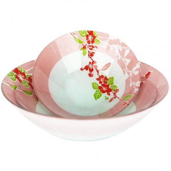 Набор салатников 3 п. Розовая ветка Delta 9327SK